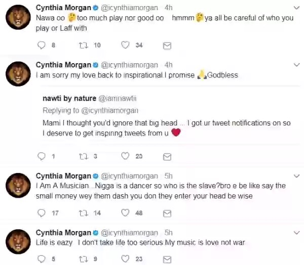 """MY 2 SINGLES BETTER THAN YOUR 2 ALBUMS"" – CYNTHIA MORGAN BLASTS MC GALAXY"