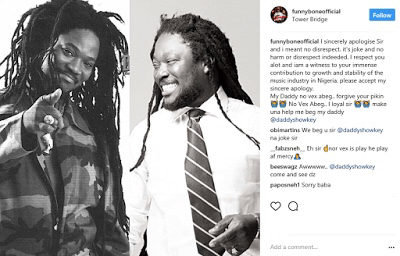 Funnybone Apologizes To Daddy Showkey For Comparing Him To A 'Mosquito' In His Joke