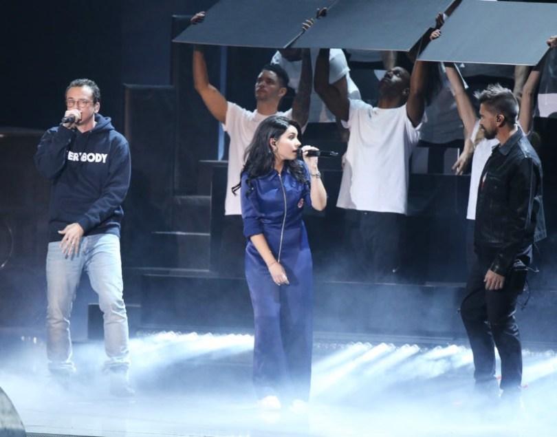 """Watch Logic, Alessia Cara & Juanés Perform """"1-800-273-8255″ At The Latin GRAMMYS"""