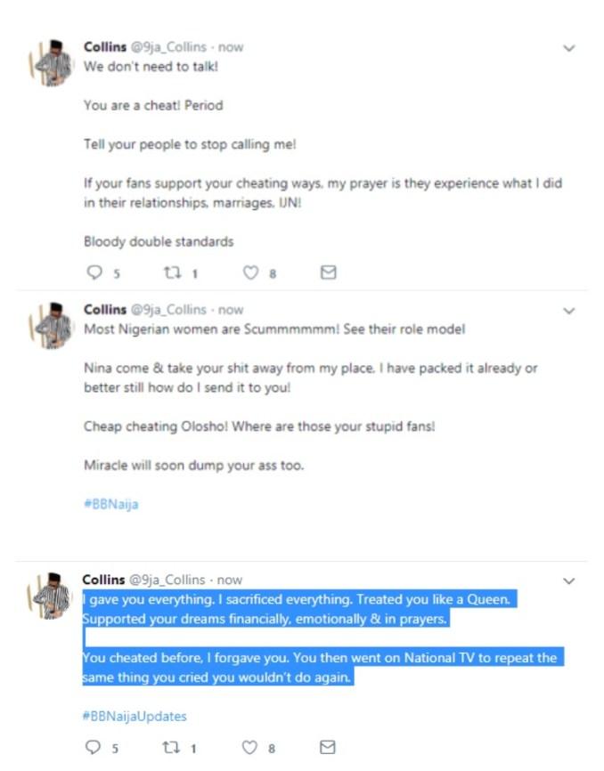 'You are are cheap cheating olosho' - Nina's Boyfriend