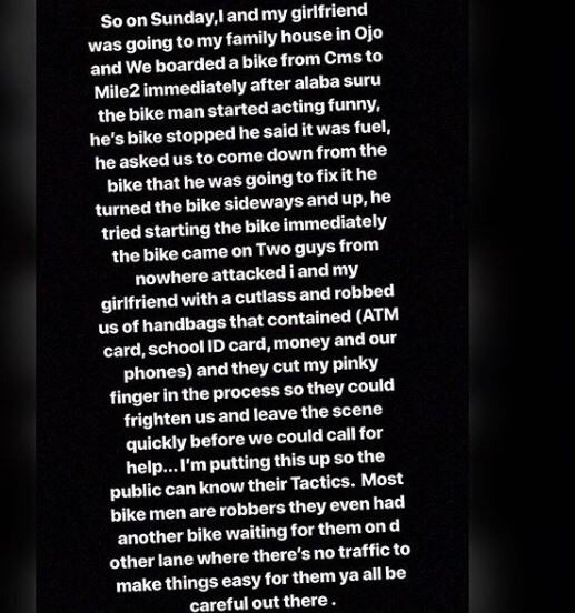 Lady narrates how her bike man set her up for robbery