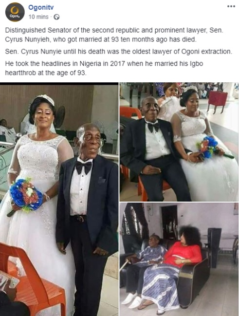 88-year-old Senator Cyrus Nunyieh dies months after marrying young bride