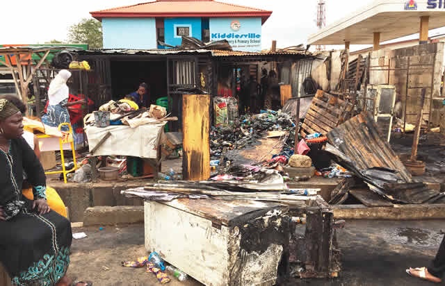 Items worth millions of Naira destroyed as fire guts shops in Ikorodu