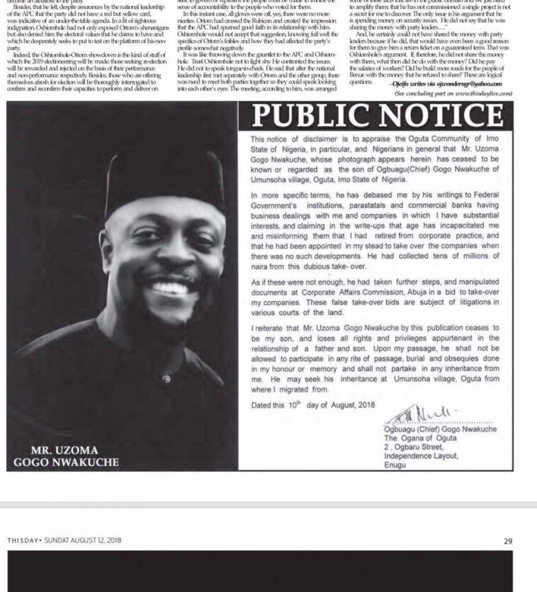 Businessman publicly disowns his son with newspaper advert
