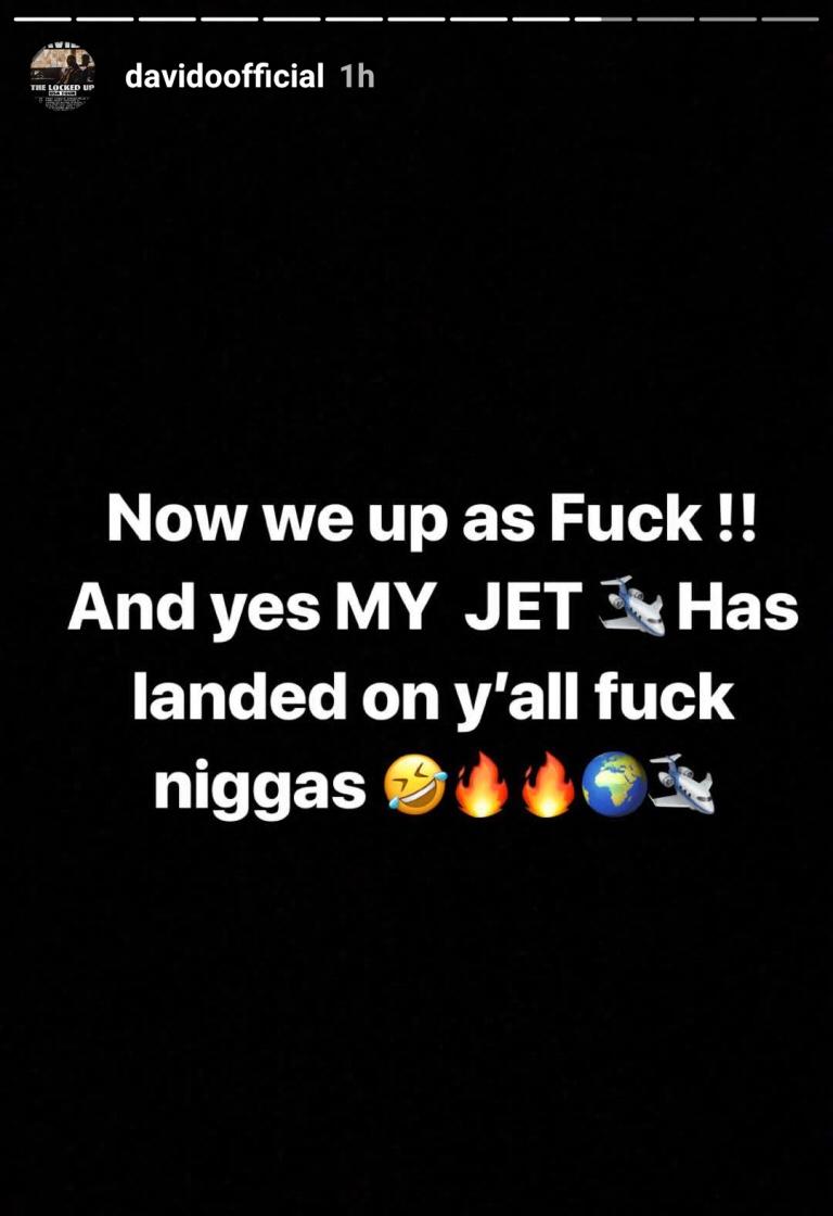 Davido's Private Jet Lands In Lagos