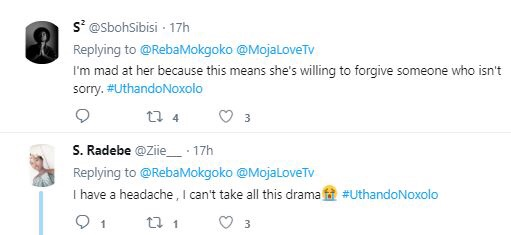 Uthando Noxolo's fans vexes on cheating man
