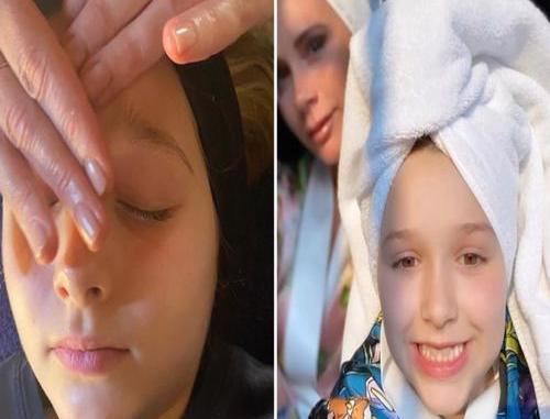 Victoria Beckham Enjoys Facial Treatment With Daughter