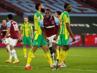 Michail Antonio Celebrates Scoring Against West Brom