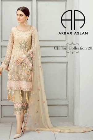 AKBAR ASLAM-Chiffon Collection-Formals-CARNATION