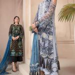 MOTIFZ | EMBROIDERED BEMBERG CHIFFON Collection | GREY NURSE-2580