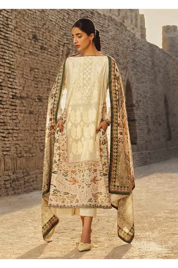 TENA DURRANI   Embroidered Lawn Suits   Ecru