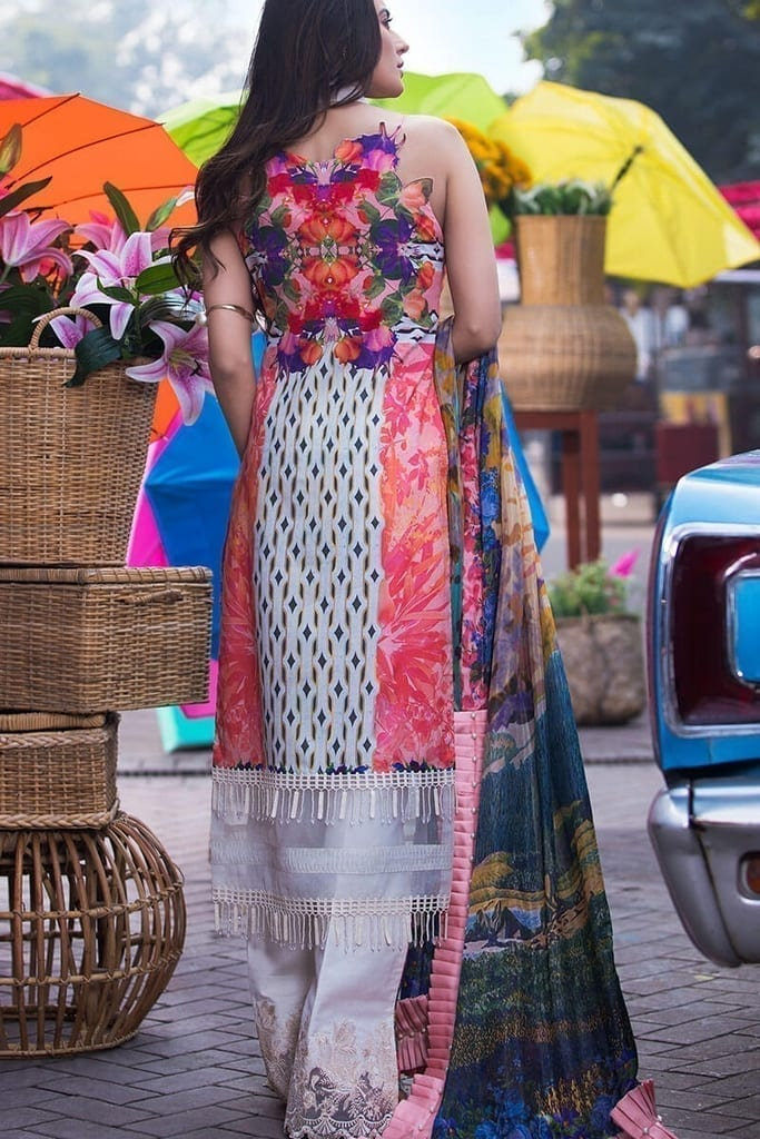 Digital printed heavy embroidered lawn front 1.25 yards. Digital printed lawn back 1.25 yards. Digital printed lawn sleeves 0.69 yard. Embroidered patti for sleeves. Silk digital printed dupatta 2.50 meters. Plain dyed cotton trouser 2.50 meters. Embroidered border on organza for trouser.