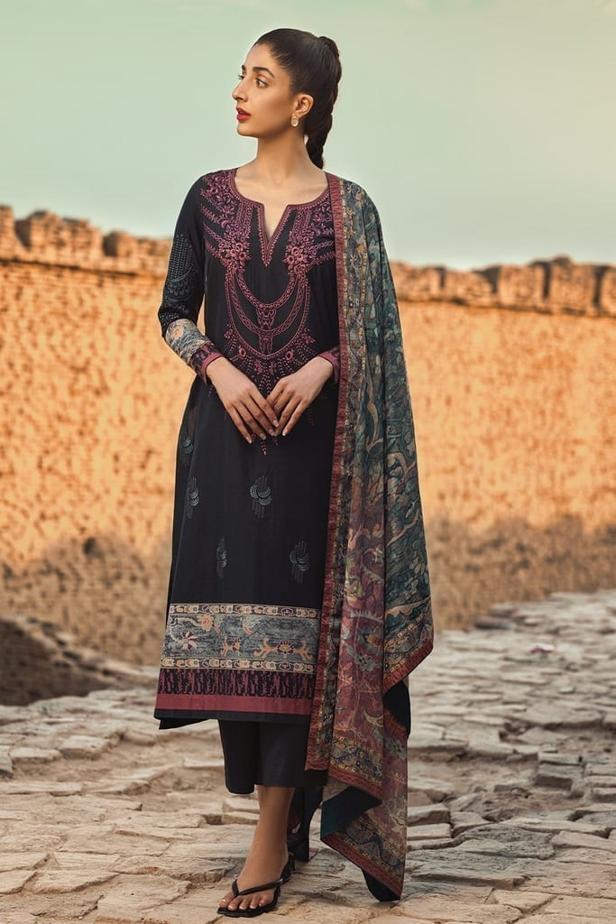 TENA DURRANI | Embroidered Lawn Suits | Shale