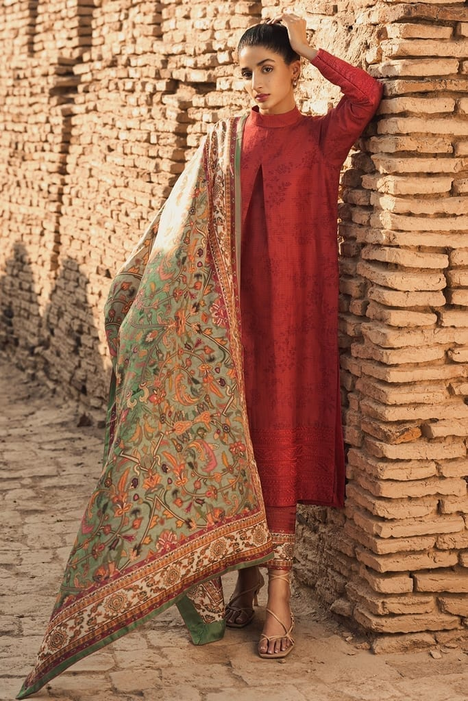 TENA DURRANI   Embroidered Lawn Suits   Flame