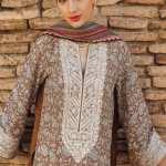 TENA DURRANI   Embroidered Lawn Suits   Travertine