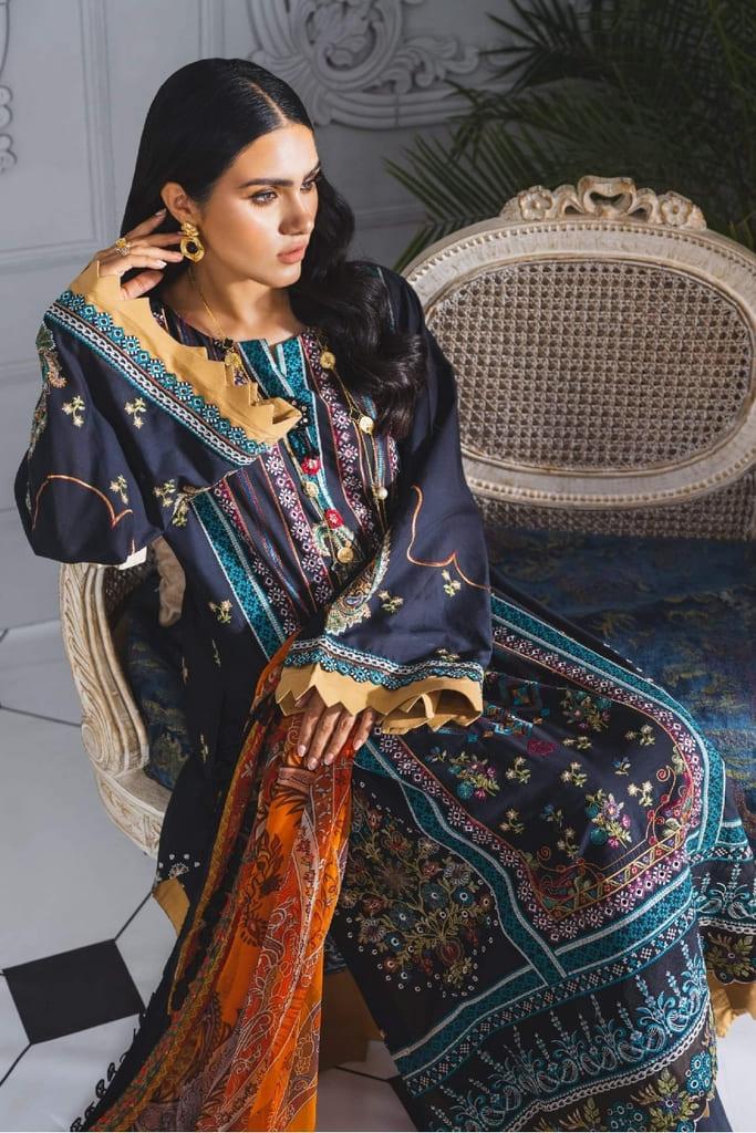 MARYUM N MARIA | FORMAL DRESS | Black & Orange (ML-201)