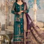 MARIA B | MBROIDERED HERITAGE Collection | Teal blue, Olive Green and Purple (BD-2202)