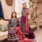 ADAN'S LIBAS   LUXULIA EMBROIDERED CHIFFON Collection   D#7 Berry Plum