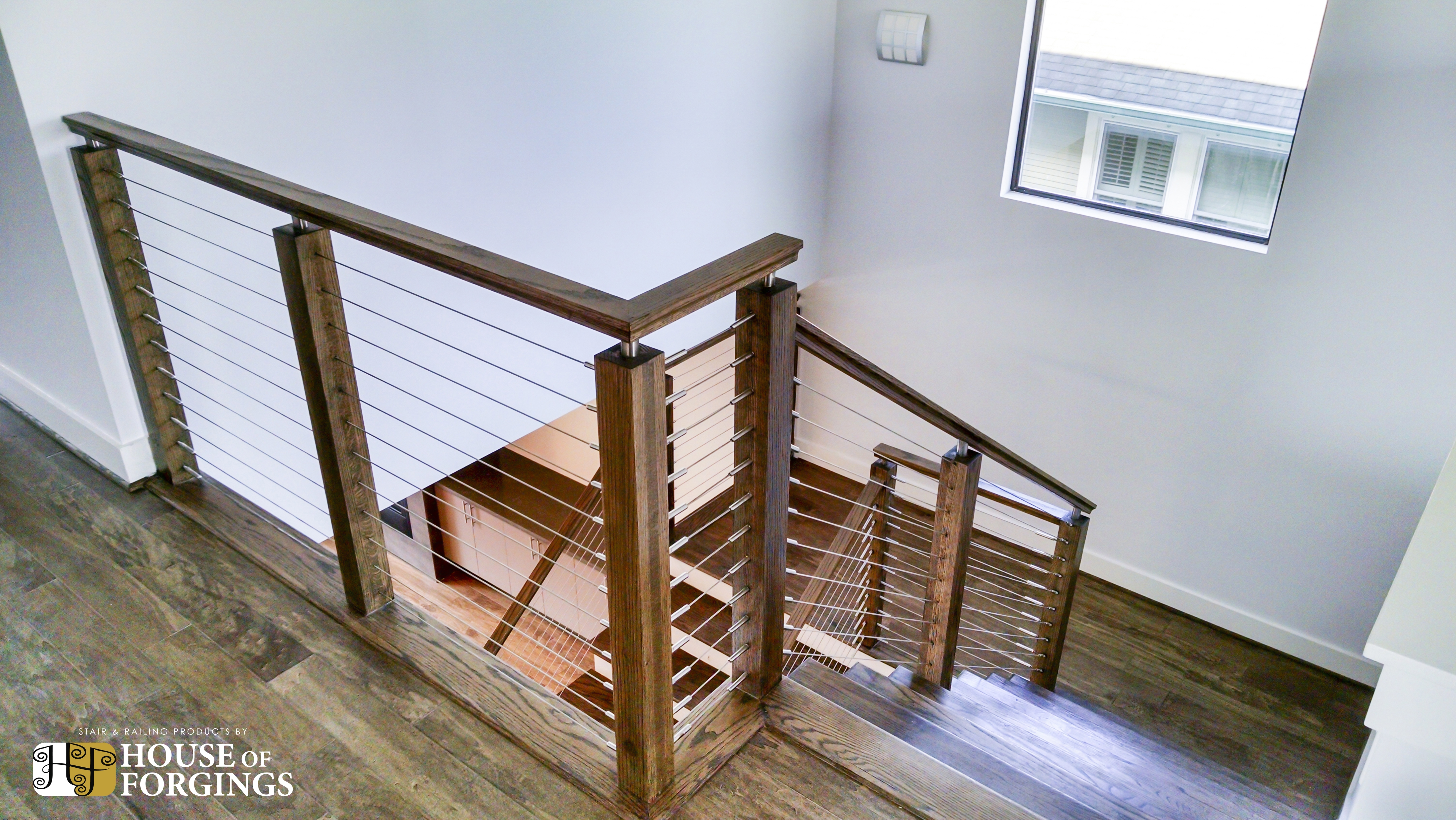 Cable Railing Systems For Stairs Balconies | Wood And Wire Stair Railing | Before And After | Coastal | Natural Wood | Residential | Utility Panel