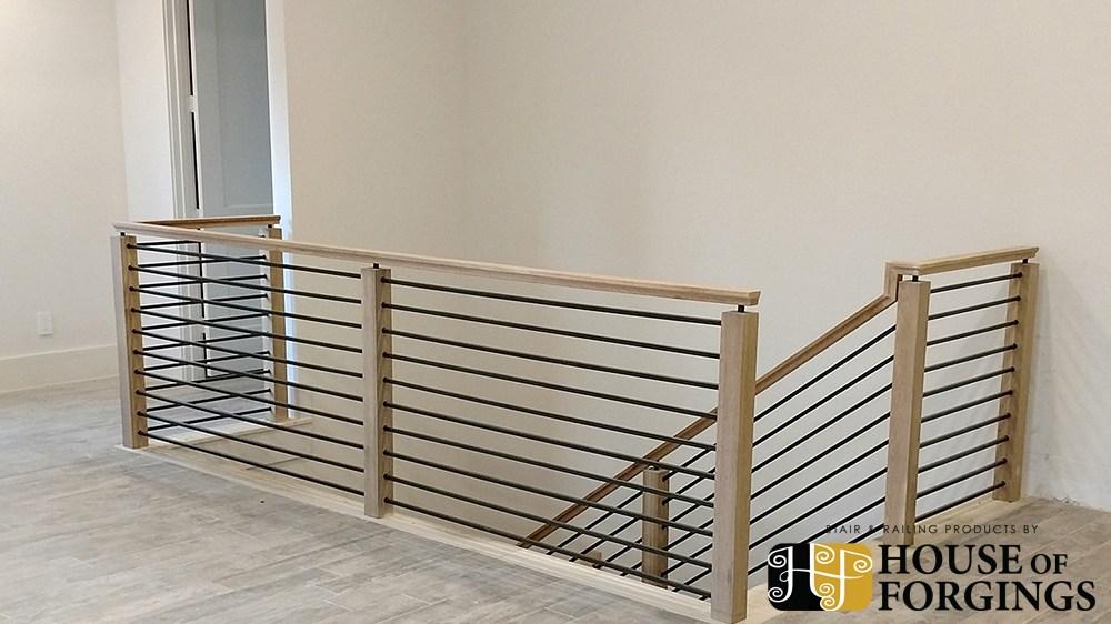 Horizontal Railing – Affordable Modern Staircases | Black Horizontal Stair Railing | Metal | Linear | Interior | Wood | Exterior