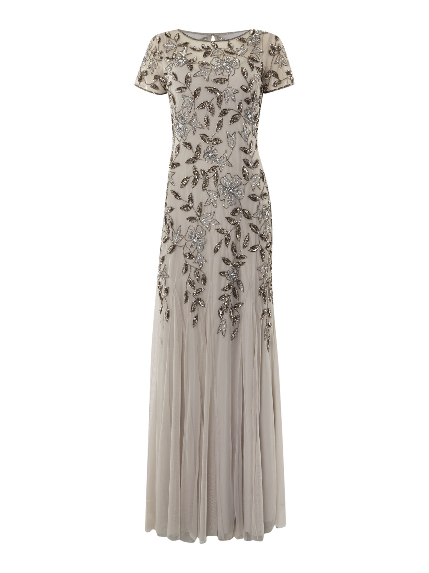 Adrianna Papell Evening Gown Metallic Silver