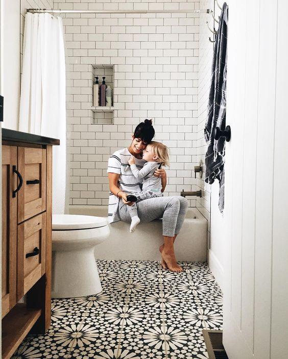 Modern Farmhouse Bathrooms - House of Hargrove on Farmhouse Tile Bathroom Floor  id=53400