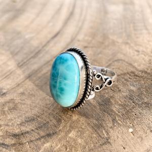 Larimar Ovaal Ring 925 sterling zilver groot zij-aanzicht