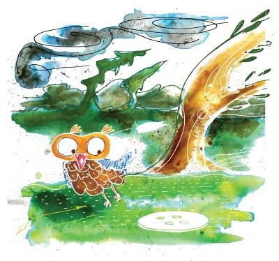 Illustration: Owls Windy Day