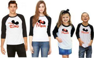 disney family raglan tshirts customized