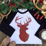 Women's Deer Plaid Raglan Shirt