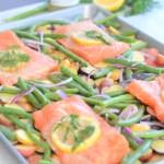 sheet pan cooking   lemon garlic salmon and veggies   healthy meals   ww freestyle