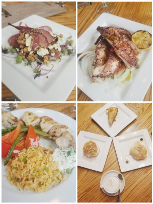Greek Food Grey County | best dinner spots Blue Mountain | Tholos | Poached Pear and Gargonzola salad | Grilled Octopus | Ekmek Cheesecake Baklava | Chicken Souvlaki | Greek dessert