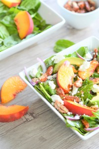 summer peach spinach salad