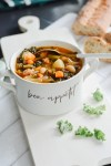 Turkey Sausage, White Bean Kale Soup | Turkey Leftover Recipes | Indigo Fall Collection | Indigo Faves Giveaway
