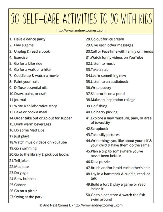 50 Self Care Activities to do as a family  Self Care Ideas for Kids