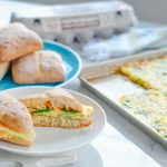 Sheet Pan Egg Ciabatta Sandwiches Recipe with Conestoga Farms