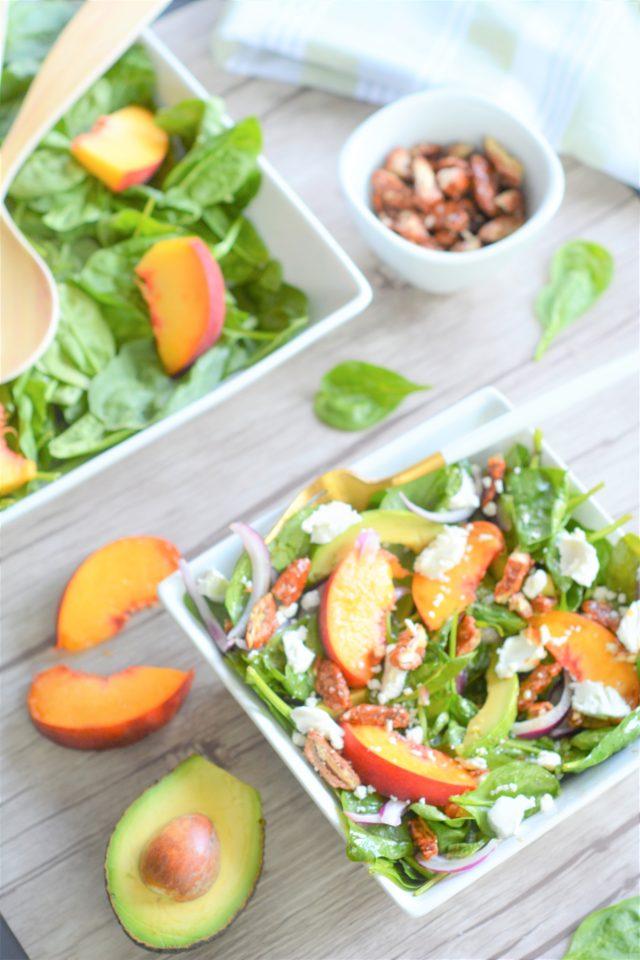 Peach Spinach Pecan Avocado Salad
