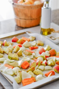 sheet pan apples carrots onions for soup