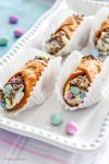 Homemade Italian Cannoli Recipe Simplified with pre-made pastry shells | Crushed mini chocolate eggs for Easter | Edible Gift Ideas