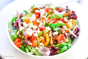 Rainbow Roasted Vegetable Spring Mix Salad with Balsamic Vinaigrette - delizioso!