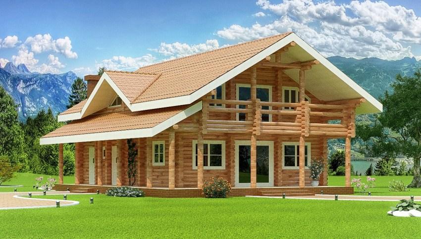 двуетажна дървена къща от трупи