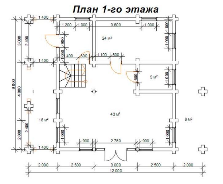 проект на сглобяема дървена къща от цилиндровани трупи