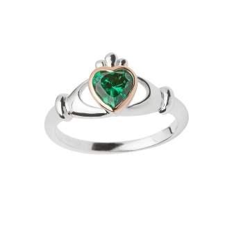 Claddagh Green Stone Ring