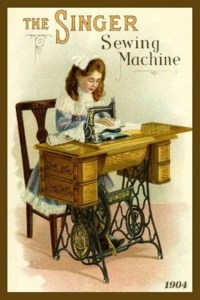 A colour period hand drawn advert of a victorian girl sitting at a treadle sewing machine.