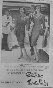 June 1949 Models advertise Berketex in the Hull Daily Mail.