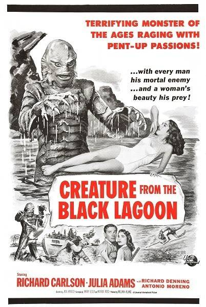 creature from the black lagoon red black poster