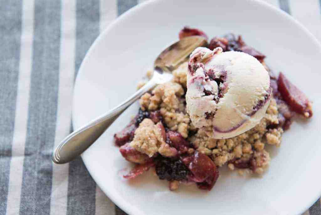 Big, juicy blackberries and sweet-tart nectarines bubbling beneath a warm, buttery crumble topping and served with a scoop of ice cream. Yes, please!
