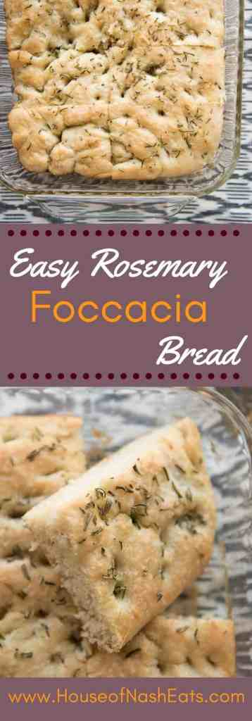 This easy rosemary foccacia bread is so simple to make and ready in under an hour, so you can have fresh, warm bread with dinner tonight! The olive oil coating the bottom of the pan gives an amazing, crunchy texture to the crust while the butter drizzled over the top creates pockets of yummy, buttery goodness, highlighted with a generous sprinkle of coarse salt.