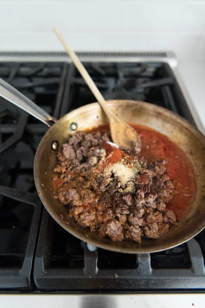 Taco meat is easy on a weeknight, even when you don't have a packet of taco seasoning on hand. This Whole 30 compliant version comes together in a snap.