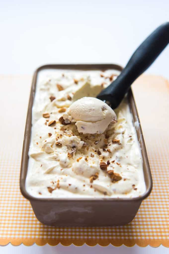 An almond-flavored ice cream chock full of nutty pieces of chopped, toasted almonds, there is nothing quite like a scoop of toasted almond ice cream topped with dripping homemade caramel sauce and sprinkled with extra chopped almonds!  This is the perfect ice cream for anyone who loves nuts!